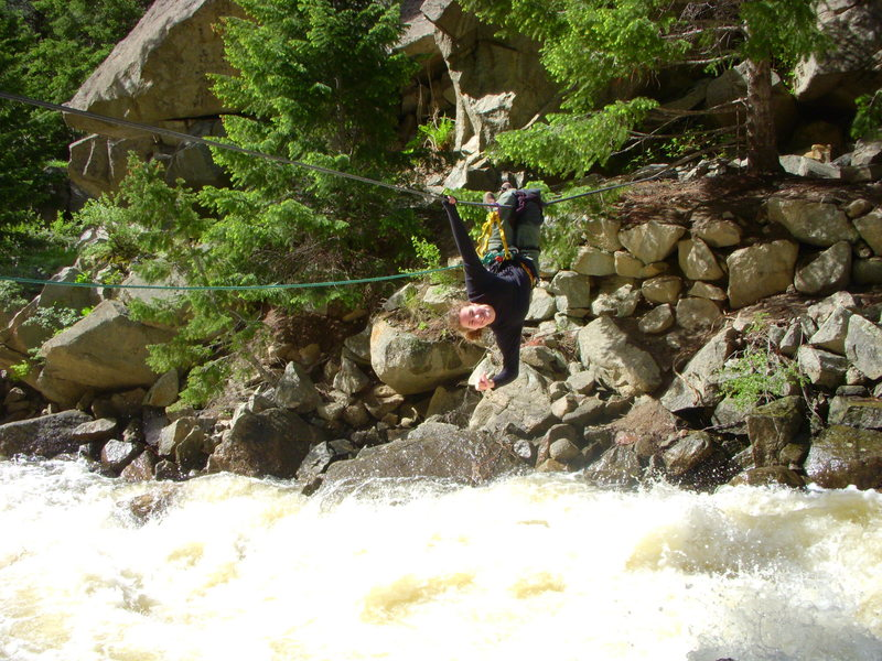 The water was boiling in Boulder Creek, Jun 2008 as Amanda executes a Tyrolian traverse.