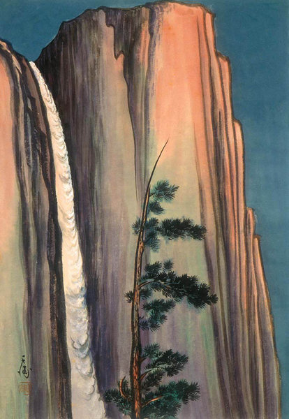 Chiura Obata woodcut. Yosemite Falls, 1930