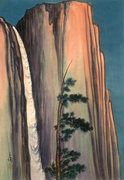 Rock Climbing Photo: Chiura Obata woodcut. Yosemite Falls, 1930