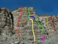 Rock Climbing Photo: East Face QM  1. Hardpan Heroics 2. Yogini 3. Clev...