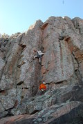Rock Climbing Photo: Chuck leading Mr Clean.  Not a bad warm-up on a ni...