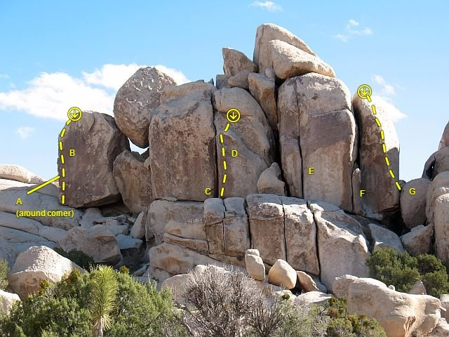 North Horror Rock (West Face), Joshua Tree NP<br> <br> A. Lippo Suction (5.10a)<br> B. Face Lift (5.11c)<br> C. Quivering Lips (5.8)<br> D. Lip Sync (5.11b)<br> E. Zarmog the Dragon Man (5.10a)<br> F. The Ice Experience (5.9)<br> G. Ungawaa (5.11a)