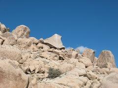 Rock Climbing Photo: The Volcano Boulder from the desert floor, Joshua ...