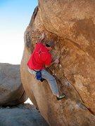 Rock Climbing Photo: James on Dike Face (V5), Joshua Tree NP