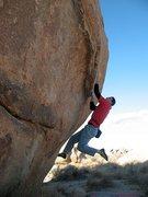 Rock Climbing Photo: James at the start of Mirage (V2), Joshua Tree NP