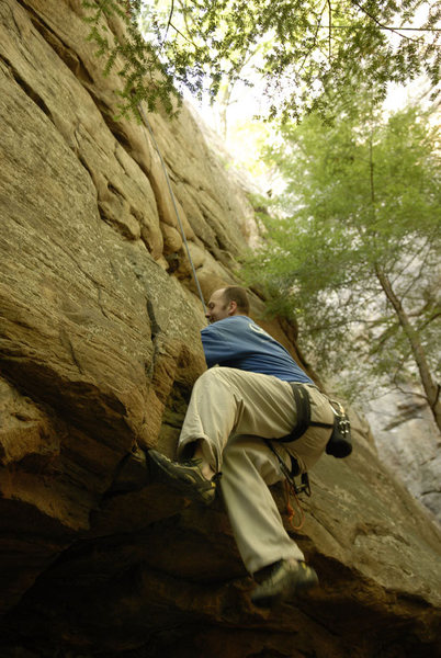Rock Climbing Photo: TR'in a crack around the corner