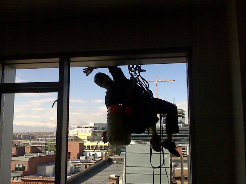 """Me aiding """"sugarcube"""" building, Denver 16th st"""