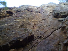 Rock Climbing Photo: Right up the center between the right and left fac...