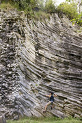 Rock Climbing Photo: Traversing in boulder the shapes of the solid lava...