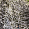 Traversing in boulder the shapes of the solid lava at Gunko de Boquete.