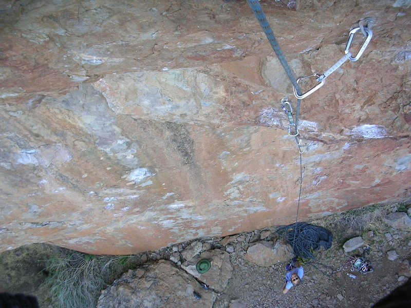 Rock Climbing Photo: Looking down Annihilator, 5.11d.  The chalked hold...