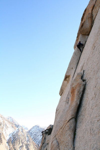 Mary Devore on the FA of Our Little Secret (5.11b), Pine Creek.