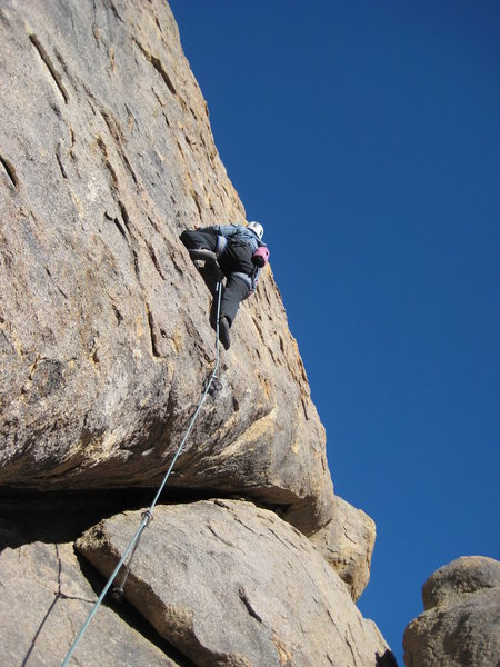 Em Holland leads the first ascent of Little Miss Sunshine in the Hideout, Alabama Hills