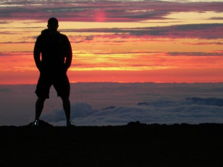 Watching the sun set on top of Mt. Haleakala in Maui.