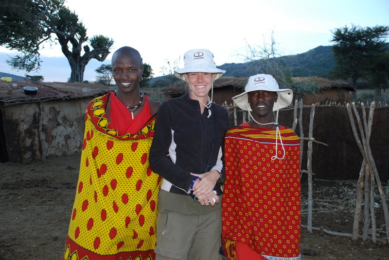 Rock Climbing Photo: Leigh and a few Massai in Kenya, outside of the Ma...