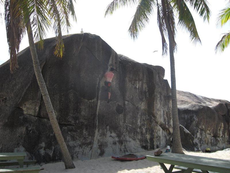 Up high on Island Crack, V2