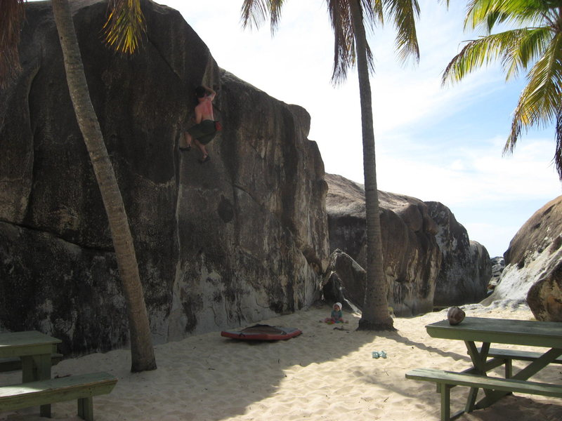 Rock Climbing Photo: Keep your head about you when your spotter is 15 m...