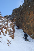 Rock Climbing Photo: the crux ice section on Shoestring...