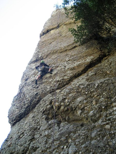 One of my favorite climbs!<br> Harder on the face than the arete, also a little pump at the end.<br> There was no wooden ledge to belay or stand, but plenty of room and a great tree! recommend this climb!
