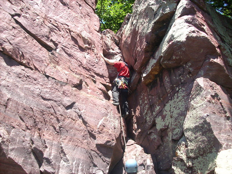 Route goes up the corner to the right of the climber.