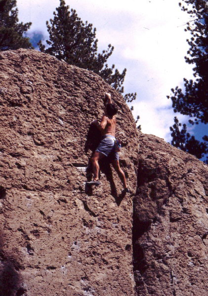 Volcanic pocket bouldering at Deadman's Summit. photo: Bob Horan Collection.