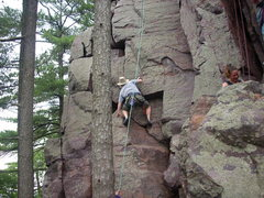 Rock Climbing Photo: Climber is on the 5.2 variation.  Regular start is...