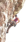 Rock Climbing Photo: Getting ready to place the rivet hanger and draw o...