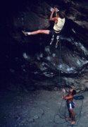 Rock Climbing Photo: Pete Steres leading Horangutan, circa 1982.