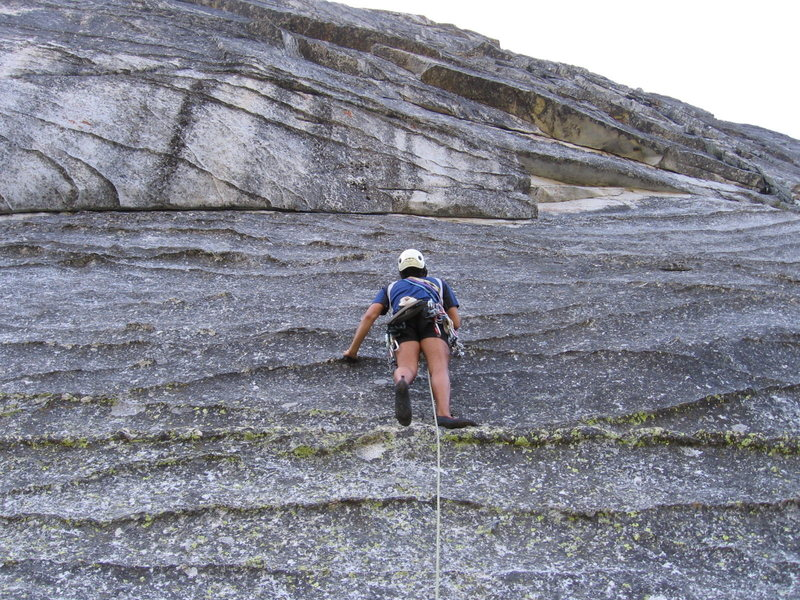 Rock Climbing Photo: The first pro is under that roof with the horizont...
