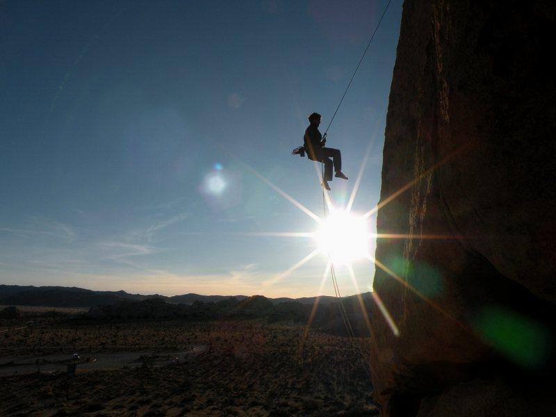 Rock Climbing Photo: Chris raps the EBGB's formation