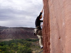 Rock Climbing Photo: The chalk marks are the 12- variation to this rout...