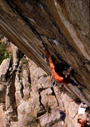 Rock Climbing Photo: Bob Horan leading La Lune on natural gear.