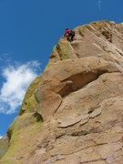 Rock Climbing Photo: Shirley leading the final pitch of The Climb Too T...