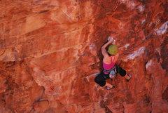 Rock Climbing Photo: Kayte Knower mid-crux on Glitter Gulch