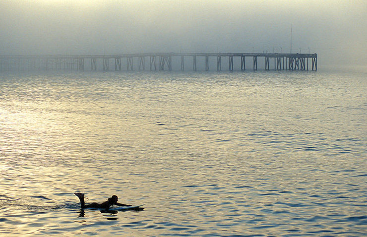 The Central Coast offers outstanding rest-day opportunities.  Here, Bill Vecchiarelli paddles out near the Ventura Pier.