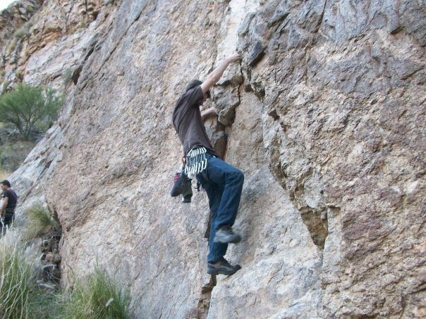 Rock Climbing Photo: First move of first pitch of Meteor Shower.