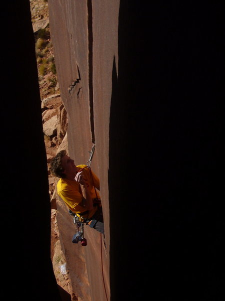 Rock Climbing Photo: Sponser climber for BD Kenedy on SC with Hexes.  P...