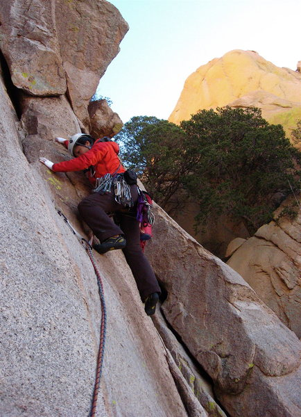 Rock Climbing Photo: Shirley starting up the Unnamed route's P2.  A ste...