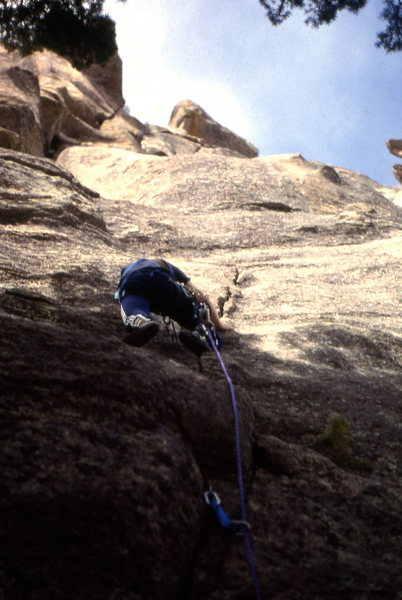 "First ascent of ""Cheeses of Nazareth"" 5.11 b/c at Ocelot. Chuck Grossman climber"