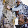 Rob Mulligan and I at the belay at the top of Bat Crack on a cold day.