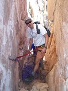 Rock Climbing Photo: Courney Purcell at anchor bolt above first 5th cla...
