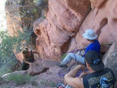Rock Climbing Photo: Belaying hikers up short second 5th class section ...