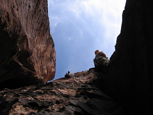 Rock Climbing Photo: Looking up Pitch 2 at Shad Mickelberry (following ...