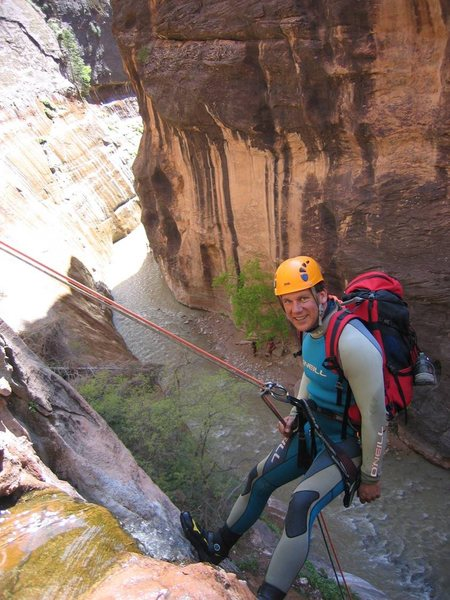 Rappelling out of Mystery Canyon into the Virgin River Narrows.  Zion offers world-class canyoneering to supplement its world class big wall climbing.