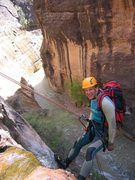 Rock Climbing Photo: Rappelling out of Mystery Canyon into the Virgin R...