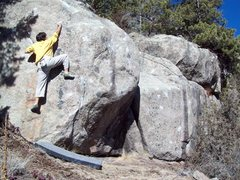 Rock Climbing Photo: BH on FA of Natural Mystic V5, Inaugral Boulders, ...