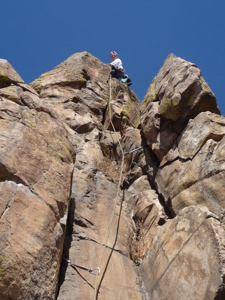 "Above the finger crack after ""Climbing it out""."