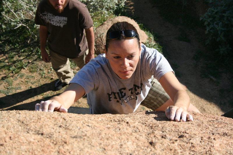 Agina Sedler in the Accomazzo Boulders.