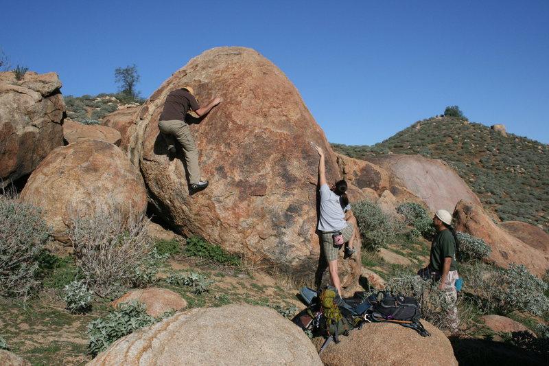 Nate, Agina and Al in the Accomazzo Boulders.