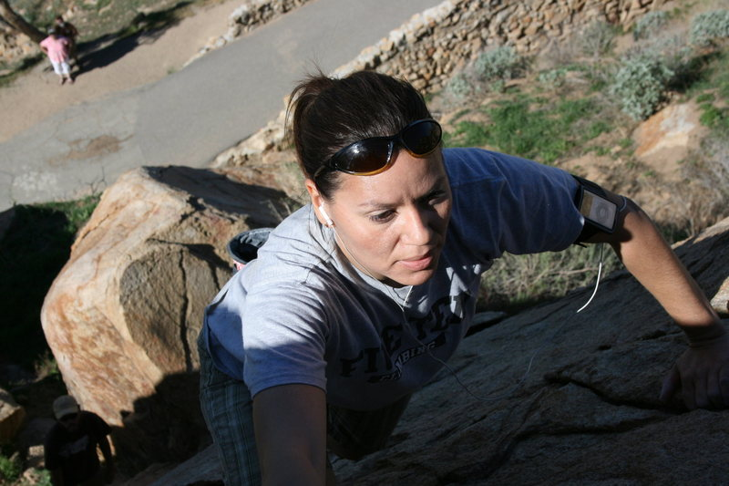 Rock Climbing Photo: Agina on the Cable Route, Halfdome Boulder.